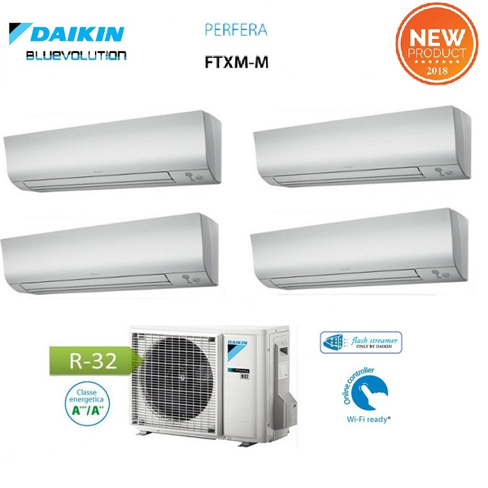 Daikin quadri split inverter serie ftxm r 32 bluevolution for Climatizzatori multisplit