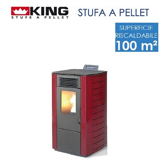 STUFA A PELLET 10 KW Mod. KING 118 BORDEAUX Per Ambienti Fino A 100 Mq