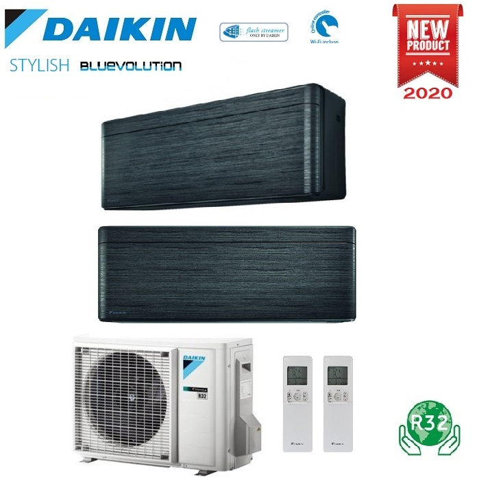 CLIMATIZZATORE CONDIZIONATORE DAIKIN BLUEVOLUTION DUAL SPLIT INVERTER STYLISH BLACKWOOD R-32 WI-FI 7000+12000 CON 2MXM50M9 - NEW REAL BLACKWOOD FTXA-BT