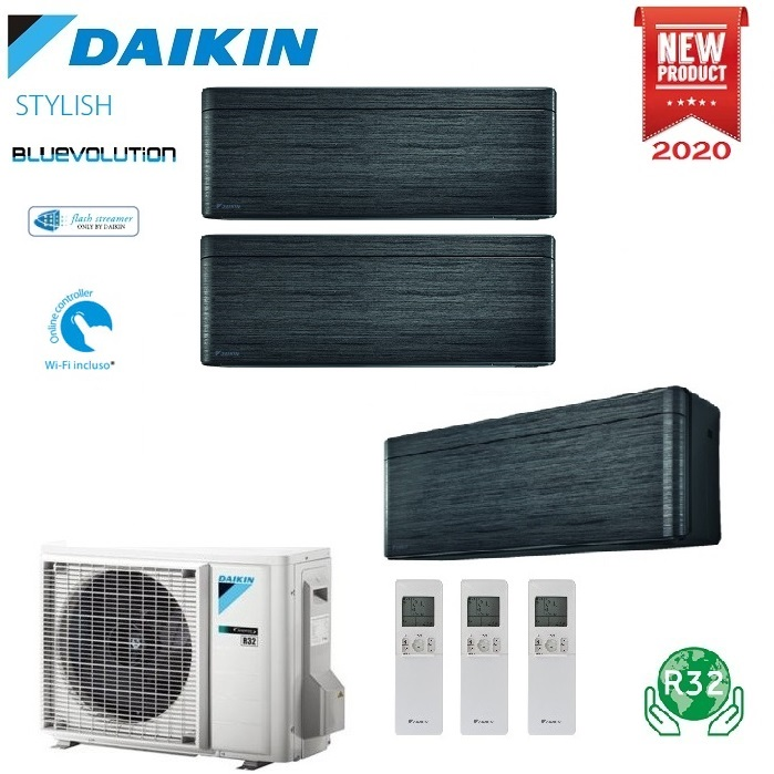 CLIMATIZZATORE CONDIZIONATORE DAIKIN BLUEVOLUTION TRIAL SPLIT INVERTER STYLISH BLACKWOOD R-32 WI-FI 9000+9000+12000 CON 3MXM52N - 9+9+12 - NEW REAL BLACKWOOD