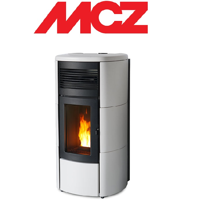 STUFA A PELLET MCZ CLUB HYDROMATIC 24 TOP E FIANCHI IN CERAMICA – 24 KW BIANCA