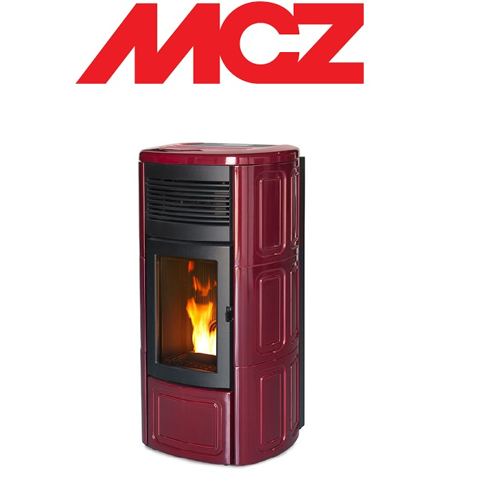 STUFA A PELLET MCZ SUITE HYDROMATIC 16 IN ACCIAIO CON TOP E FIANCHI IN CERAMICA – 16 KW BORDEAUX