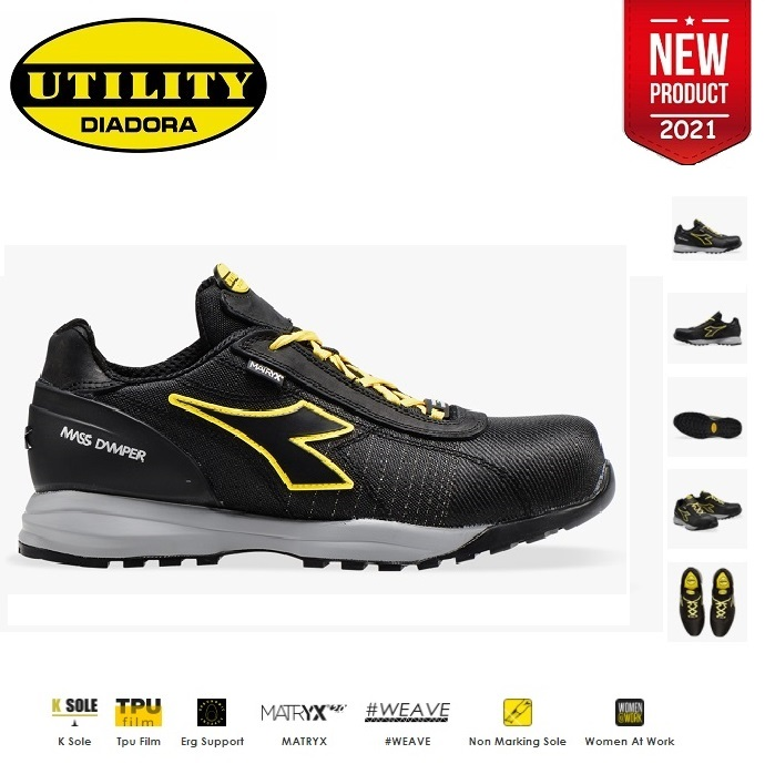 SCARPE ANTIFORTUNISTICA DIADORA UTILITY GLOVE MDS MATRYX LOW  S3 HRO SRC - COLORE NERO cod. 701.176204