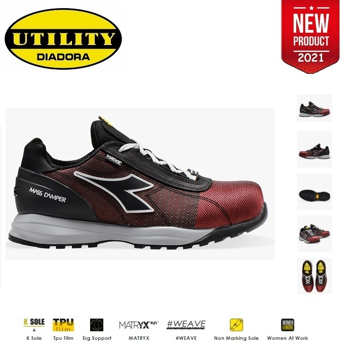 SCARPE ANTIFORTUNISTICA DIADORA UTILITY GLOVE MDS MATRYX LOW S3 HRO SRC - COLORE FLAME RED/BLACK cod. 701.176204 - NEW 2020
