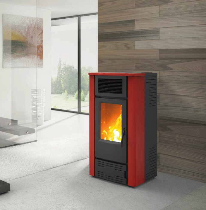 STUFA A PELLET AD ARIA CANALIZZABILE KARMEK ONE LUCCA PLUS 16,6 KW IN ACCIAIO COLORE BORDEAUX
