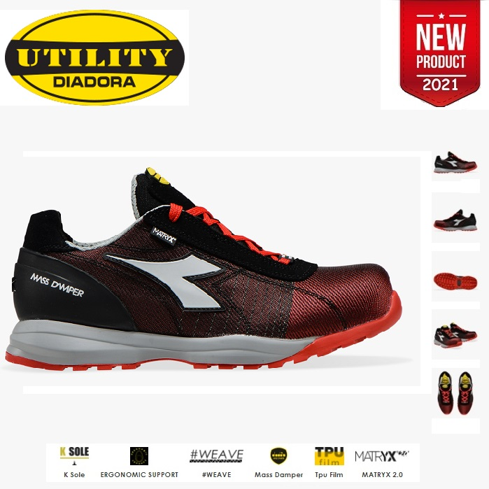 SCARPE ANTINFORTUNISTICA DIADORA UTILITY GLOVE MDS MATRYX LOW S1P HRO SRC - COLORE POPPY RED/GREY cod. 701.176198 - NEW 2021