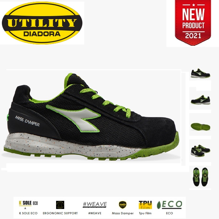 SCARPE ANTINFORTUNISTICA DIADORA UTILITY GLOVE ECO MDS S1P SRC HRO - COLORE BLACK/ECO GREEN cod. 701.177661 - NEW 2021